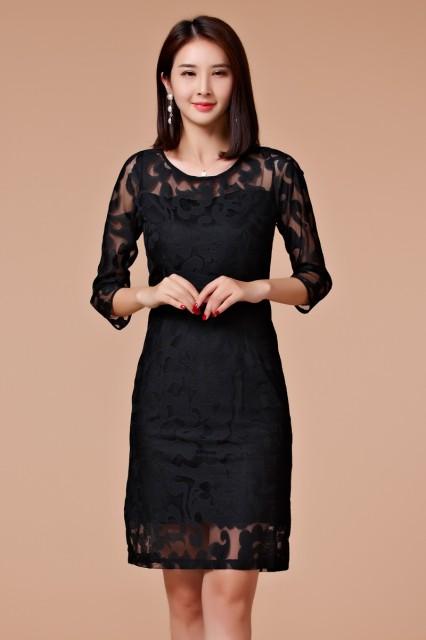 ブラック色 4Lサイズ 予約品 大きいサイズ 肩&袖透け☆チュールワンピース 刺繍 タイトワンピース パーティードレス