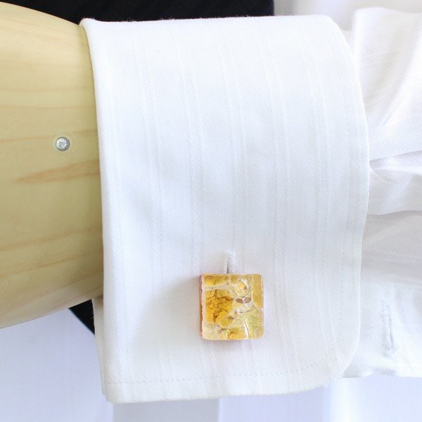 全2種・ムラーノ・ベネチアンガラス・ゴールド×イエロー・ビッグのカフスセット(タイピンセット)