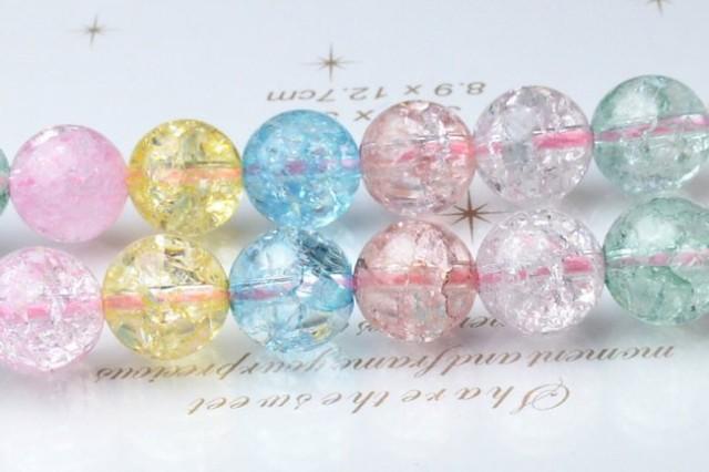 6mm クラック水晶(爆裂水晶) (マルチカラー) 1連(約38cm)_R1586-6/A6-6