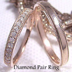【SALE】 結婚指輪 エタニティリング ダイヤモンド ペアリング ミル打ち マリッジリング ピンクゴールドK10 送料無料, 浪越軒 cfe710f2