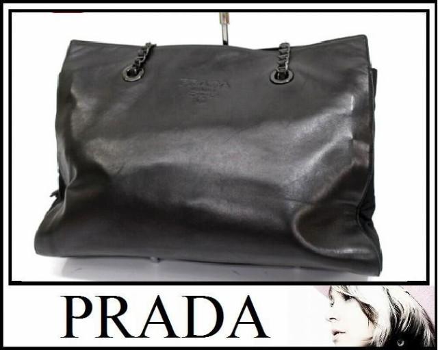 あす着 PRADA プラダ B4327 チェーントートバッグ トートバッグ ナイロン×レザー ブラック レディース