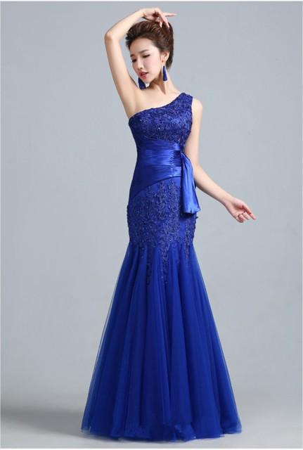 高品質 ロングドレス パーティードレス ワンピース マーメイドライン シングル肩 大きいサイズ 二次会 発表会