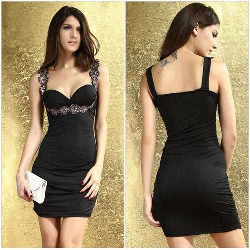 上品×エレガント!スパンコール&フロントギャザー使いセクシータイトミニドレス 全6色(黒白赤青緑ピンク)