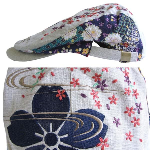 【RP43】【和柄綿刺繍キャップ】刺繍和柄帽子 流水桜柄和柄ハンチング 和柄刺繍ハンチング絡繰魂抜刀娘錦竜図TARGETよりお買得