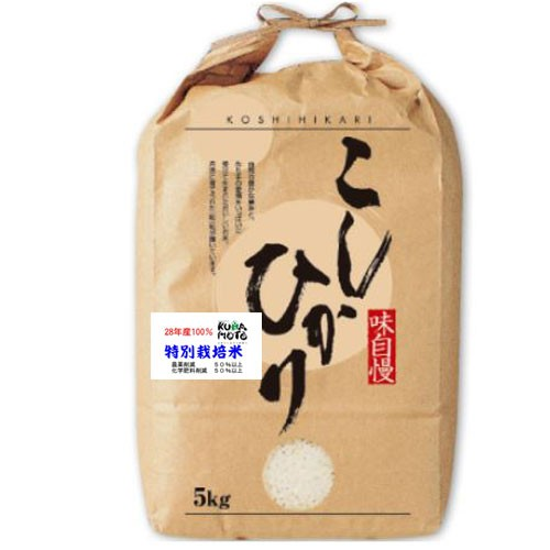 29年産 熊本県産 天草 コシヒカリ 特別栽培米 5kg 送料無料 玄米 精白米 7分づき 5分づき 3分づき お好みに精米します