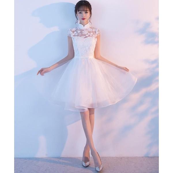 48abe69085e2e ドレス パーティードレス ホワイト レース 二次会 結婚式 司会者 舞台衣装 花嫁 お呼ばれ ミニ丈