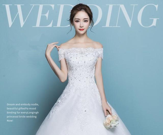ウェディングドレス レディース フォーマル ワンピース 女性 結婚式 花嫁 編み上げ トレーン 引き裾オフショルダー