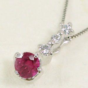 (税込) 天然石 7月誕生石 プラチナ ルビー Pt900 ペンダント ダイヤモンド ネックレス-ネックレス
