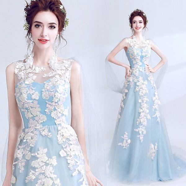 87d37bae28fa1 ウェディングドレス ロングドレス カラードレス二次会 花嫁 ファスナータイプ レース パーティードレス・結婚式