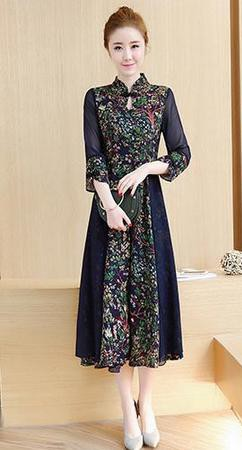 1550fa69e0891 2点送料無料 レディース ワンピースドレス 中国風 チャイナ風 花柄 ゆったり ボタン ナチュラル