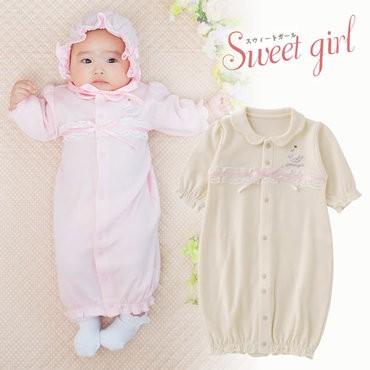 efd97896b6141 ベビー服 赤ちゃん 服 ベビー ツーウェイオール 女の子 ギフト  スウィートガール スワン刺繍リボン新生児