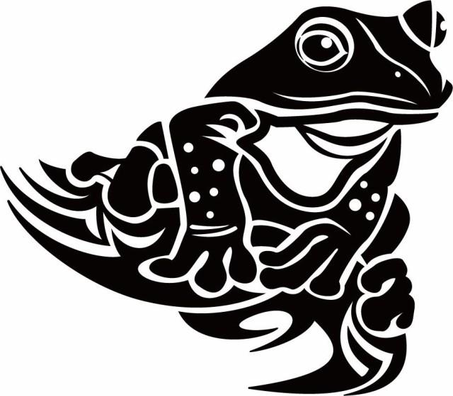カッティングステッカー カエル蛙 トライバル 9右向き サイズl