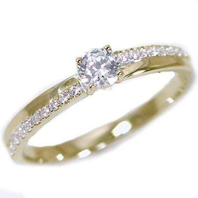 100%正規品 鑑定書付 ダイヤモンド イエローゴールド 婚約指輪 エンゲージ リング ダイヤ 0.2ct K18, ライダーズプラザアクト 61791913