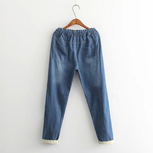 デニムパンツ ズボン カジュアルパンツ レディースパンツ ロングパンツ ゆったり 可愛いウサギ刺繍があり レトロパンツ