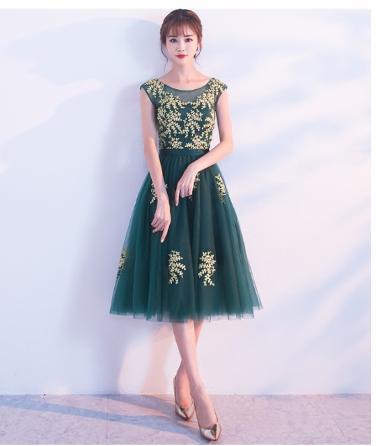パーティードレス 結婚式 ミディアム丈 演奏会 二次会 ウェディングドレス 袖なし お呼ばれ 20代30代 編み上げ 着痩せ 緑の通販はWowma!