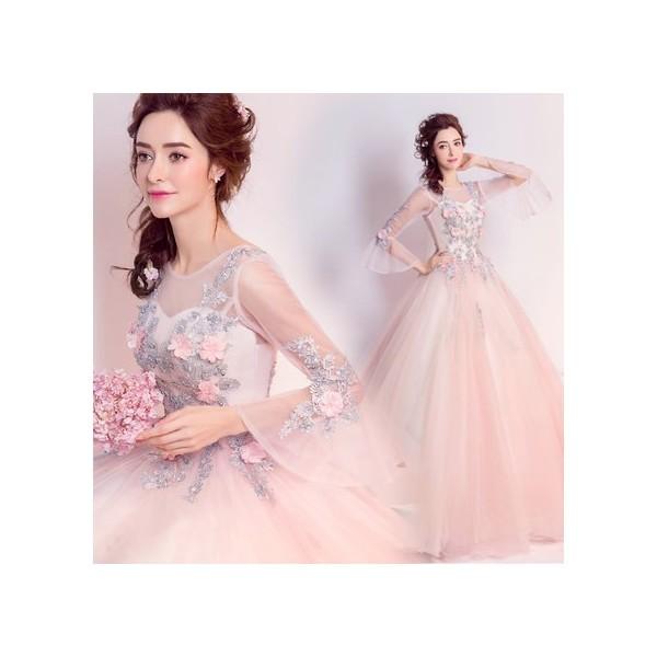 d9b760fbf6571 ウエディングドレス パーティードレス ピンク 花柄ロングドレス 結婚式 豪華なレースドレス 宴会
