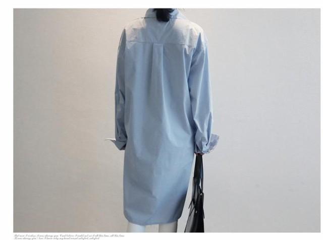 ミディアム スーパーロング袖 襟付き シャツワンピース ワンピース 春夏 無地 ライトブルー 2017