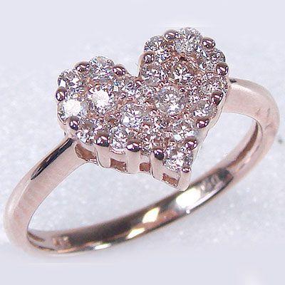 格安 K18pg ダイヤモンド ダイヤ 指輪 SIクラス ハート パヴェリング 0.5ct ピンクゴールド-指輪・リング