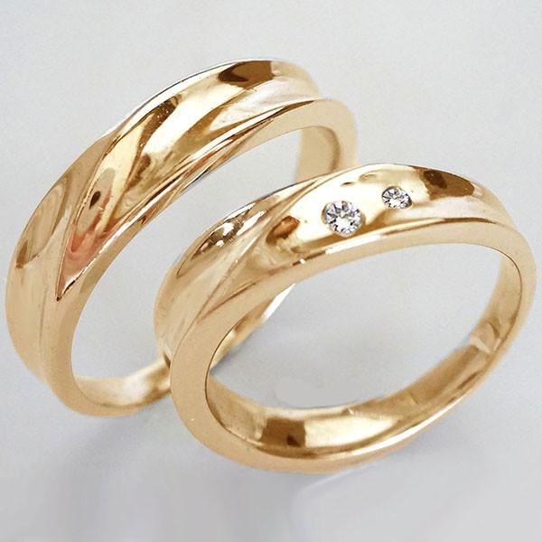 全商品オープニング価格! 結婚指輪 ダイヤ ピンクゴールドk18 ダイヤモンド マリッジリング 2本セットK18pg ペアリング 0.03ct-指輪・リング