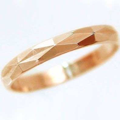 好評 ピンキーリング ピンクゴールド ダイヤカット加工 指輪 結婚指輪 K18pg ペアリング-指輪・リング