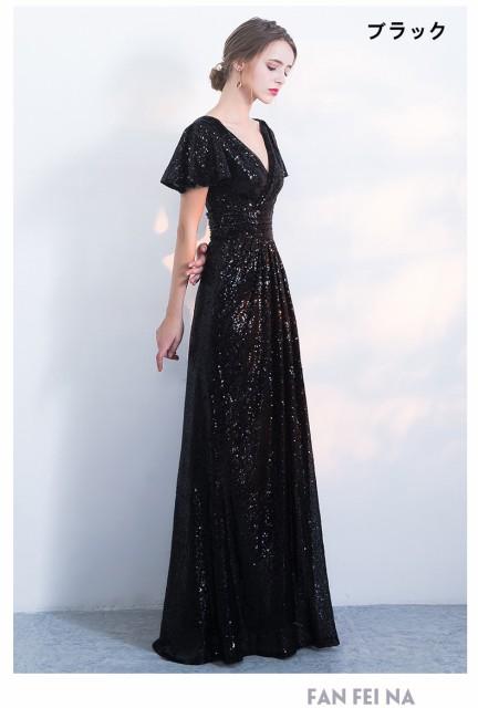 8095bcf6537b0 豪華 ロングドレス パーティドレス 舞台ドレス ナイトドレス ワンピ Vネック 黒 赤 全3
