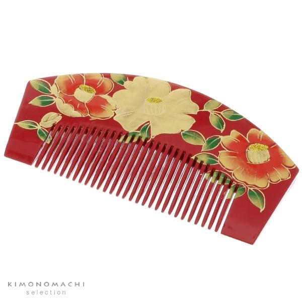成人式 髪飾り 塗り くし「赤色 椿」振袖髪飾り 前櫛 日本髪 成人式の振袖に