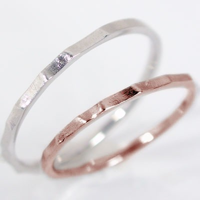【初回限定お試し価格】 ピンクゴールド ホワイトゴールド ペアリング 結婚指輪 マリッジリング ペア 2本セット K18pg K18wg 指輪, 山梨市 9618555d