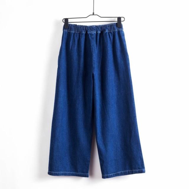 韓国風 らくらくパンツ ズボン カジュアルパンツ デニムパンツ ワイドパンツ レトロパンツ 七分丈パンツ ゴムウエストが便利