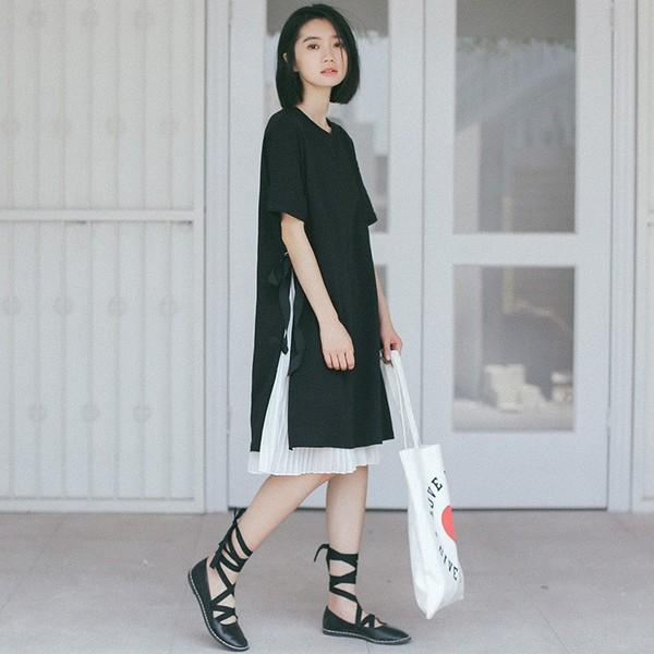 チュニック ワンピース プリーツスカート 半袖 フリーサイズ ひざ丈 リボン ブラック 黒 ホワイト 白 夏