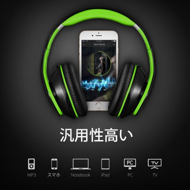 Mpow Bluetooth ヘッドホン 高音質 折畳式 ケーブル着脱式 リモコン マイク ハンズフリー可能 グリーン MPBH059AG
