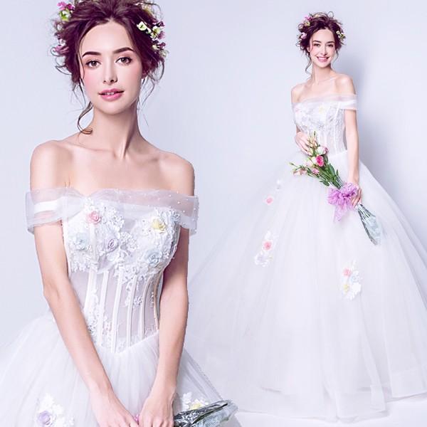 37322cec72099 ウエディングドレス 二次会 花嫁 結婚式 披露宴 司会者 舞台衣装 写真撮影 オフショルダー ロング