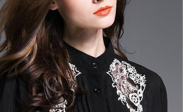 【送料無料】トップス シャツ 刺繍 長袖 シフォン ランタンスリーブ ブラウス エレガント パーティ ブラック BK M L XL lary-0408
