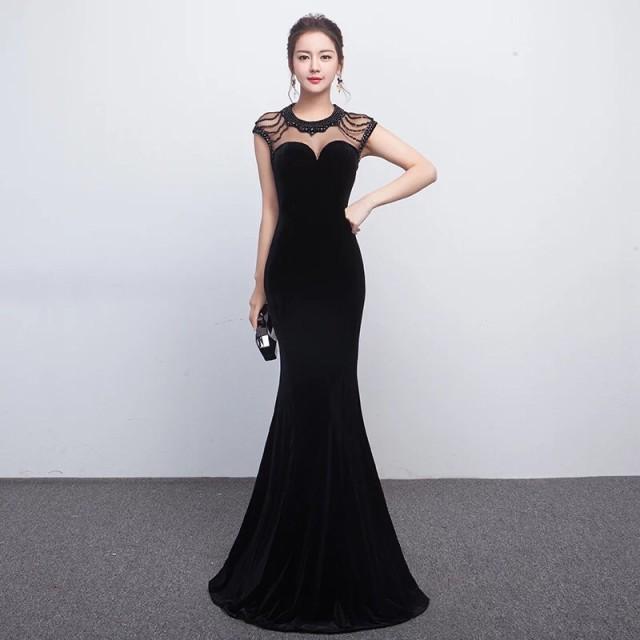 e54fce25b7e3a 高級 ベロア ロングドレス パーティドレス ワンピ ナイトドレス Vネック マーメイドライン 黒 全3色 二次会 発表会 演奏会 舞台  D022bの通販はWowma!