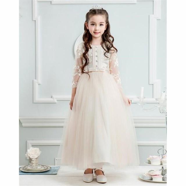 06aa21f34a5ab 子供ドレス キッズワンピ 長袖 ワンピース ジュニアドレス 女の子ドレス 七五三 結婚式 フォマールピアノ発表
