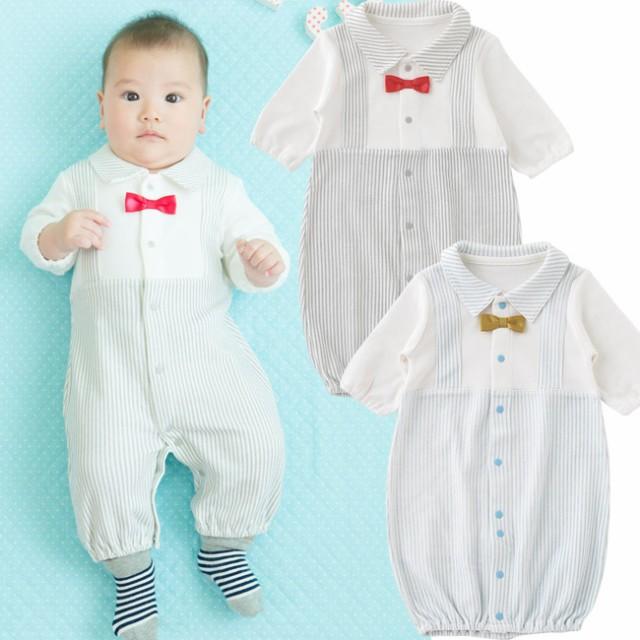19963dc15ccad 蝶ネクタイ重ね着風新生児ツーウェイオール  ベビー服   赤ちゃん   ベビー