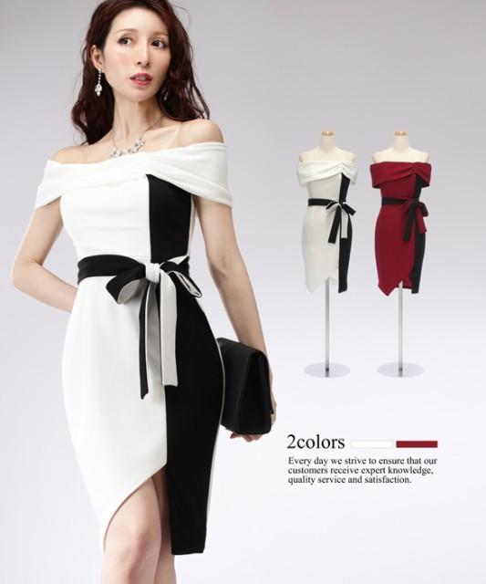 f0e2c723ce67a  4サイズ リボンベルト付き オフショルダー ストレッチ ワンピース ドレス   パーティー キャバ 大きい