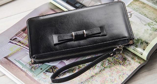財布 レディース 5色 ラウンドファスナー 大容量 長財布 リボン ワンポイント