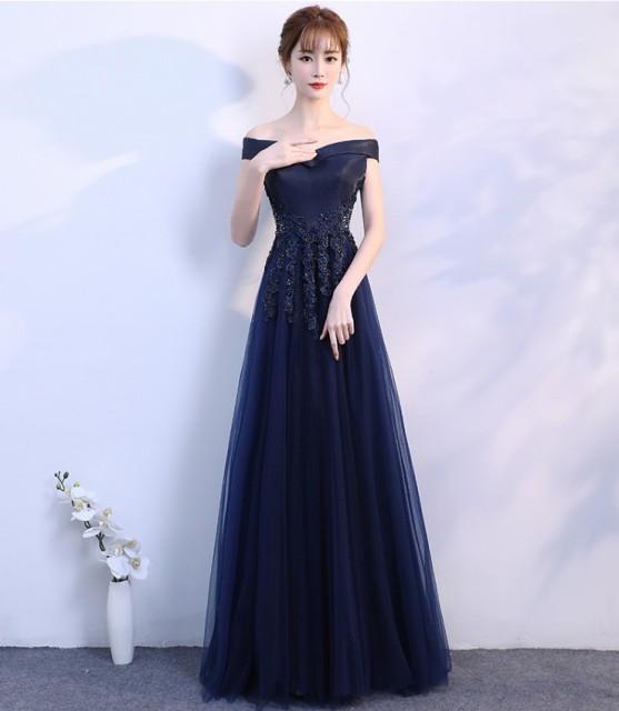 a5494fe7b0d02 ロングドレス 演奏会 発表会 イブニングドレス ピアノ オフショルダー 大きいサイズ ブラック ネイビー ブルー