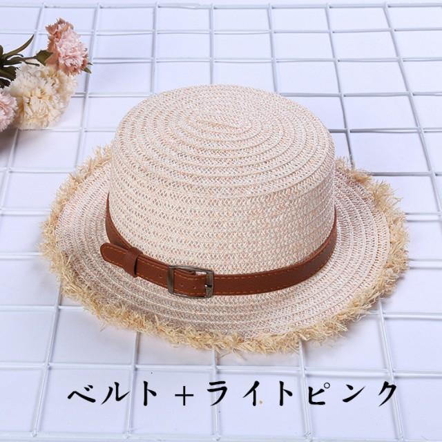 【メール便送料無料】レディースつば広帽子 麦わら リベット ベルト付き 中折れ ハット 紫外線カット UV対策 春夏 おしゃれ