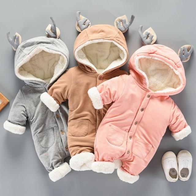 09d86f5264e09 オールインワン カバーオール 冬ロンパース赤ちゃん子供服ベビー服もこもこ裏起毛ダウン出産祝い ベビー
