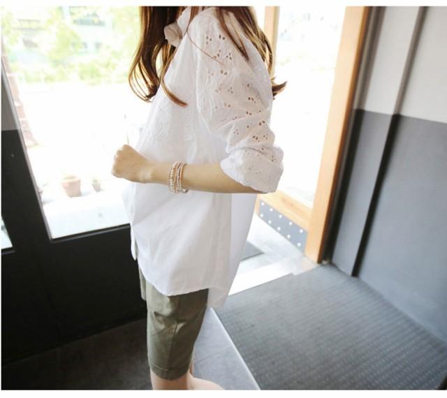 e0bde290dc975 ワイシャツ シャツ ブラウス 開襟 白 透かし彫り 清潔感 カジュアル 肌触りよい ゆったり感 レディース 通勤