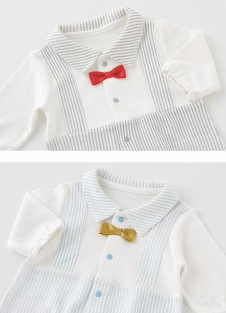 047bf8b4a8aa2 蝶ネクタイ重ね着風新生児ツーウェイオール  ベビー服   赤ちゃん   ベビー