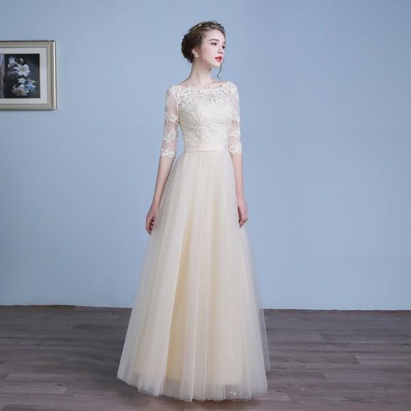 62ad3d67ccb37 二次会 ドレス 七分袖 結婚式 ドレス ワンピース 袖あり ロングドレス ウェディングドレス 同窓会