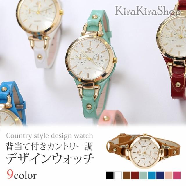 04caf84d06 腕時計 背当て付きカントリー調デザインウォッチ レディース 小物 雑貨 腕時計 合皮 //