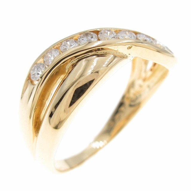 最安価格 【品】K18YG ダイヤモンドリング, 超歓迎 2f317385