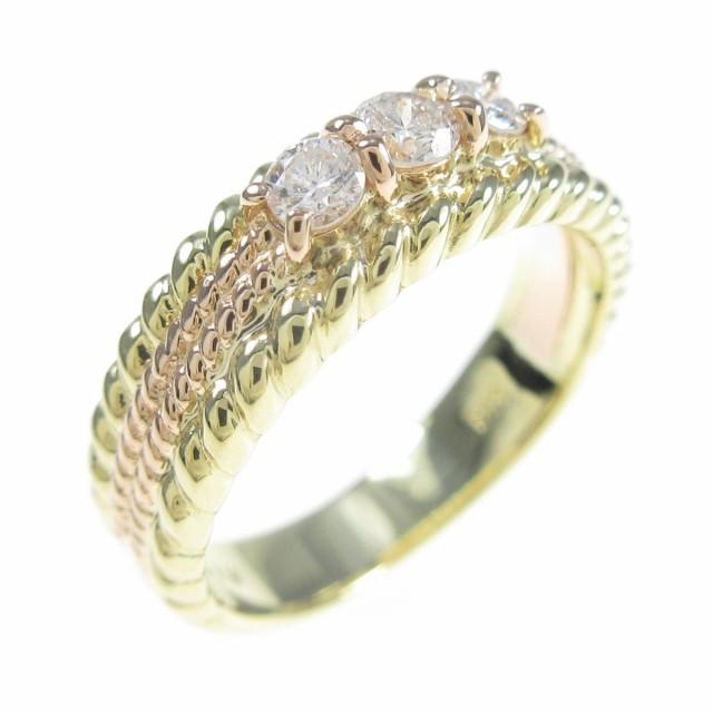 【本物新品保証】 【品】K18YG/K18PG スリーストーン ダイヤモンドリング, ブランド マート モンシェリエ f471add3