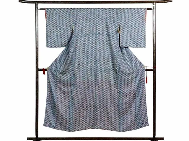 【】リサイクル小紋 / 正絹ブルー地立涌柄袷小紋着物 / レディース【裄SSサイズ】(古着  小紋 リサイクル品)
