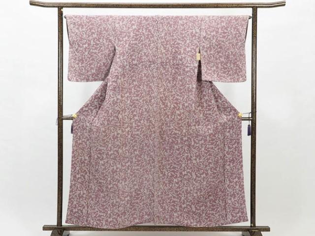 【】リサイクル小紋 / 正絹薄紫地袷小紋着物(古着  小紋 リサイクル品)