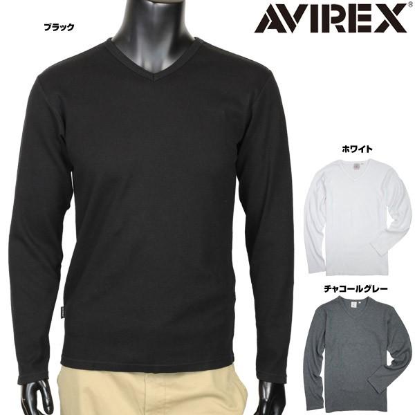 AVIREXTシャツ長袖デイリーVネックワッフル