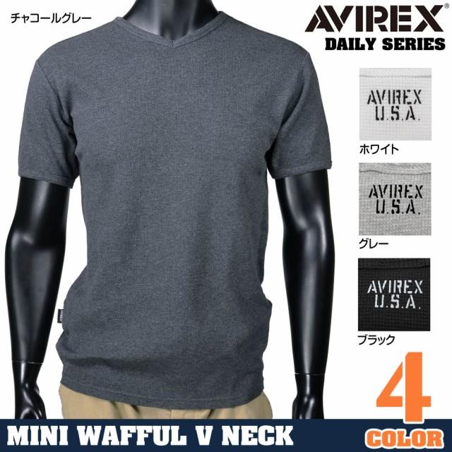 AVIREXTシャツ半袖Vネックワッフル無地デイリー